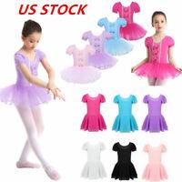 US Kids Girls Ballet Dress Dance Leotard Tutu Skirts Gymnastics Skating Costumes