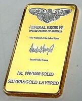 Fort Knox Silver & Gold Layered Bar Kentucky Mint Donald Trump Autograph Ingot