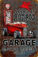 Mobilgas Americana Hot Rod Garage Arrugginiti Insegna Acciaio 460mm x 300mm (