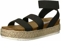 Steve Madden Womens Kimmie Open Toe Casual Espadrille Sandals, Black, Size 7.0 B