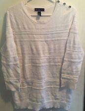 KAREN SCOTT Women's White Cotton Cable Knit sweater Size Medium M EUC
