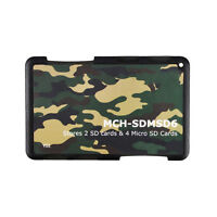 2 SD /& 4 MicroSD Holder Memory Card Protect Storage Case Write//Label Camouflage