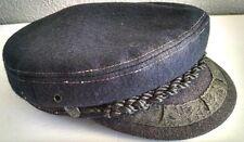 Greek Fisherman's Woolen Hat Made In Greece Blue Black Braiding