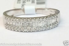 Ladies Baguette Diamonds Wedding Band White Gold 4.5mm Anniversary Ring Pave Set