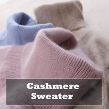 Winter Womens Cashmere Blended Sweater Pullover High-neck Solid Knitted Sweater