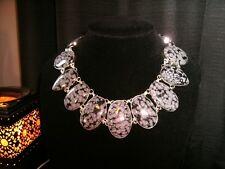 necklace narrow snowflake obsidian Cleopatra cluster adj.
