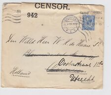 WW1 Shipping Commercial Cover to Holland Overveen Opened by Censor 942 Cover