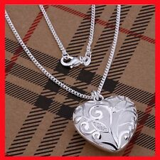 New 925 Sterling Silver Filled Hollow Heart Locket Charm Pendant Necklace Chain