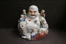 New listing Vintage Chinese Huge 5 Boys Lillypad Bricks Flower Porcelain Hotei Buddha Signed