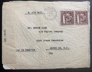 1944 Tel Aviv Palestine Airmail Censored Cover To Bronx NY USA