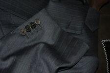 $4795 Ermenegildo Zegna Couture Wool Suit 46R 42W Charcoal Purple stripe