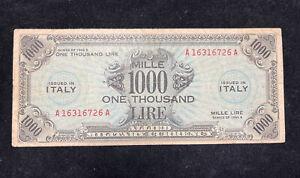 Banconota 1000 AM LIRE BILINGUE OCCUPAZIONE AMERICANA ITALIA DECR 1943 Periziato