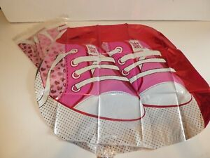 """JOB LOT 5 X 21"""" FOIL BALLOONS - NEW - HELIUM OR AIR - NEW BABY GIRL SNEAKERS"""