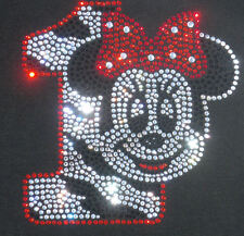 Minnie Mouse red/clear ZEBRA 1st Birthday iron on rhinestone transfer for shirt