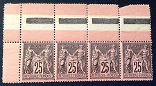 timbre france, n°97, Type sage 25c noir/rose neuf **, cote 720e  très frais
