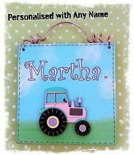 Girls Pink Tractor Room Door Sign Plaque PERSONALISED WITH ANY NAME - Handmade