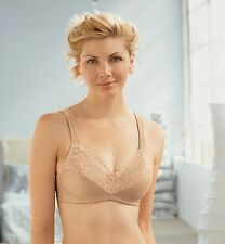 GLAMORISE Bra 50F 50 F Wide Straps! SATIN & LACE WireFREE SUPPORT 9025 Cafe NEW