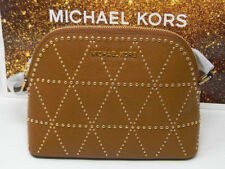 New Michael Kors Adele Luggage Brown Leather Dome Bead Gold Crossbody Purse