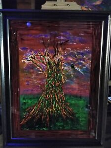 Abstract acrylic painting on canvas Blacklight Reactive Glow In The Dark