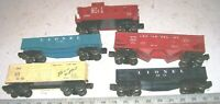 5 Vintage Lionel Freight Train O/O-27 Gauge Cars: Gondola Hopper Box Car Caboose