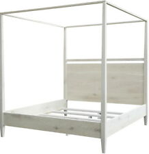 Washed oak modern 4 poster bed east. King Distressed Oak 81x86x84H KE-500WH-aLFC