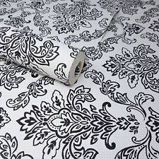 Fine Décor - White, Grey, and Black Modern Floral Damask Feature Wallpaper