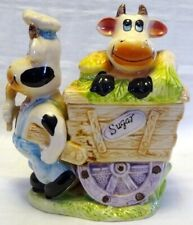 Vintage Whimsical Sugar Bowl Two Cows & Wooden Vegetable Cart Lidded Sugar Bowl