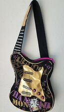 Disney Store Hannah Montana Purse  Black w Gold Guitar Bag  Miley Cyrus   A1905