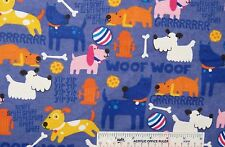 CLEARANCE Dogs Dog Woof Woof Yip Yip Purple Toss Flannel Fabric  1 Yard  (J9) <