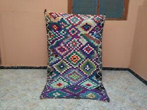 "Handmade Vintage Moroccan Rug,3'28""x5'41"" Ft,Checkered Berber Area Purple Carpet"