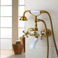 Gold Brass Wall Mounted Clawfoot Bath Tub Faucet with Hand Shower Spray