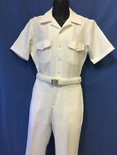 USN-NEW WHITE UNIFORM (CNT-100% POLYESTER) SHIRT SIZE L,PANTS 34R ,35R OR 36R