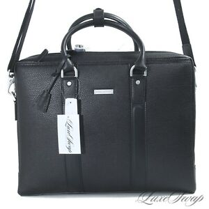 NWT $298 #1 MENSWEAR Brooks Brothers Black Grain Leather Commuter Briefcase Bag