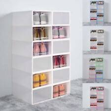 12X Plastic Shoe Storage Boxes Drawer Stackable Foldable Organiser Clear Duarble