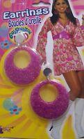 60s Revolution MOD Earrings Pink Clip On 1960's 1970's Fancy Dress 1960 1970