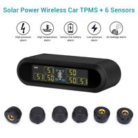 Solar Wireless TPMS Tyre Pressure Monitor System + 6 External Sensor For Pickup