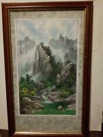 """Vtg Asian Landscape Print 24"""" X 13"""" Framed Matted"""