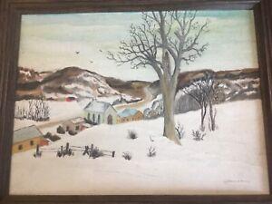Vintage Americana Folk Art Naive Winter Church Town Landscape Oil Painting AAFA