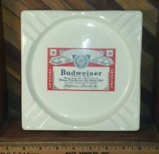 Budweiser Anheuser-Busch Large Heavy Vintage Ashtray Retro Bar Pub Man Cave