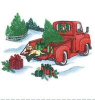 Retro Truck With Pup Christmas Set OF 2 HAND Bathroom TOWEL EMBROIDERED By Laura