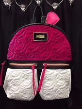 NEW! Betsey Johnson 2 Pocket BACKPACK VELVET Quilted ROSES Flowers PRETTY Fushia