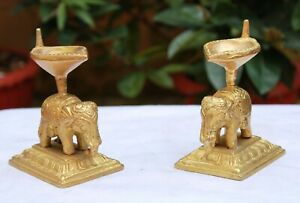 Oil Wick Lamp Pair Brass Diya Elephant Small Sculpture Pooja Home Decor Vintage