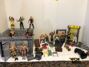 WWE WRESTLING STEEL CAGE RING PLAY SET ACCESSORIES FIGURES LOT CENA HURRICANE