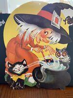 Vintage 1960's Halloween Die-Cut Decoration Witch, Black Cat,Owl & pot of brew!