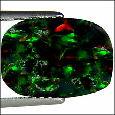 2.13 Ct Natural Ethiopian Black Opal Gemstone Multi Color Cushion Faceted Cut