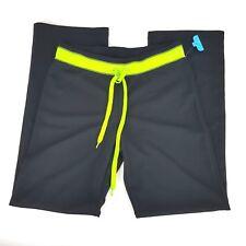 Be Inspired Women Medium Black Neon Green Straight Leg Athletic Lounge Pants NWT