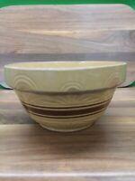 "Large Antique  Mocha & Beige Banded Yellow Ware Stoneware  Mixing Bowl 12"""