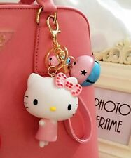 cute pink hello kitty keychain with bell key ring
