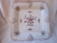 "Rosenthal SANSSOUCI Moss Rose 12"" SQUARE PLATTER, Ivory color, Gold trim"