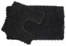 2 piece Slate Chenille Cotton Bath Mat and Pedestal Set with Anti Slip Back